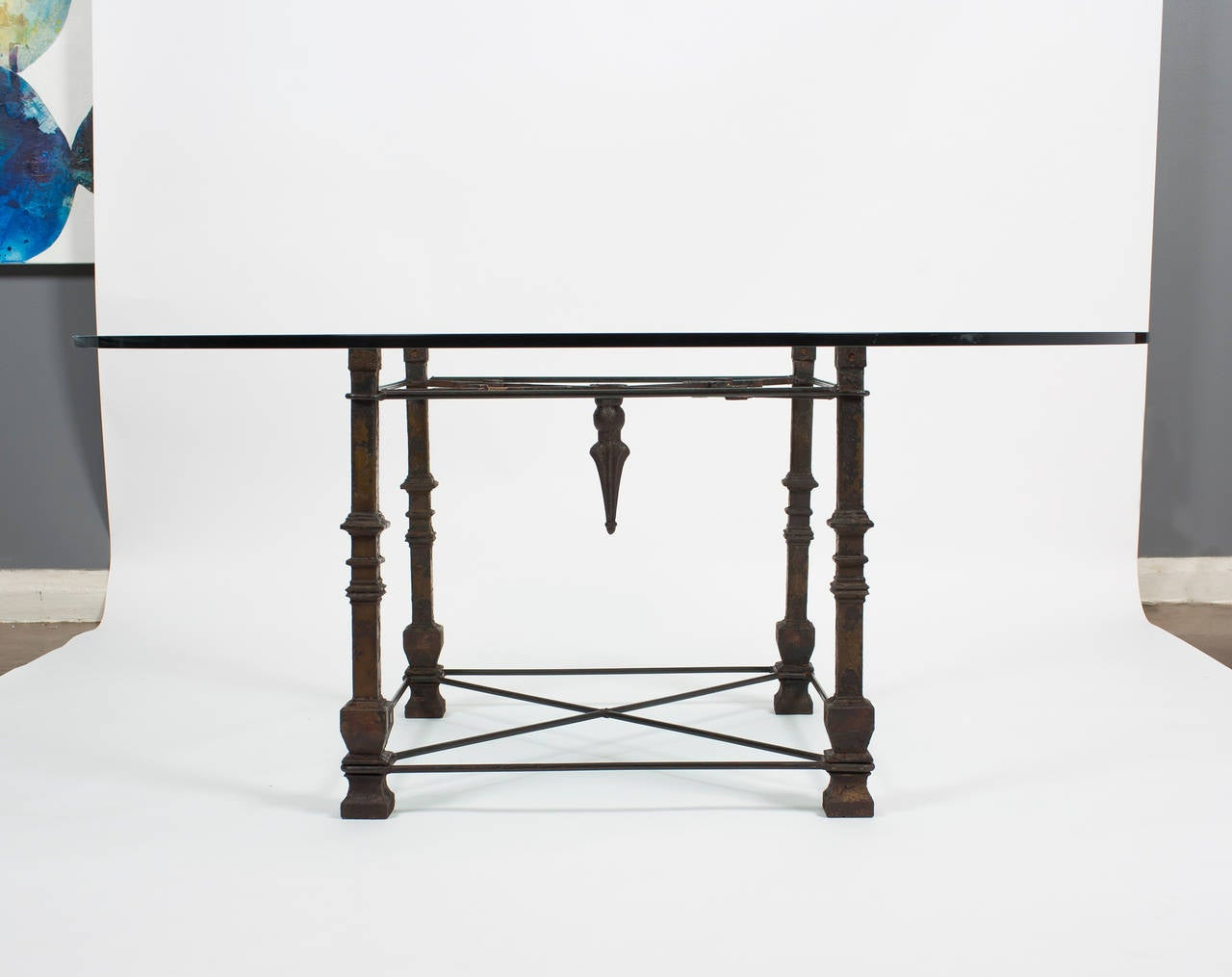 antique forged iron dining table with glass top at 1stdibs
