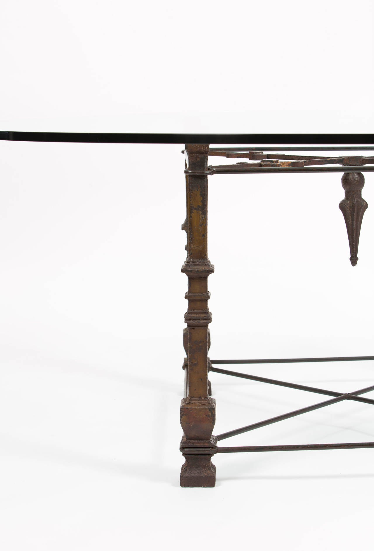 Antique Forged Iron Dining Table with Glass Top at 1stdibs : CT323roundglasstopantiqueirondiningroomtableil from www.1stdibs.com size 1280 x 1884 jpeg 75kB