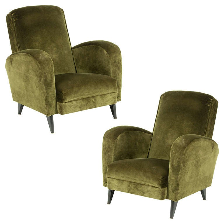 Vintage Green Velvet Club Chairs At 1stdibs