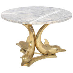 Marble Top Gilt Bronze Dolphin Coffee Table