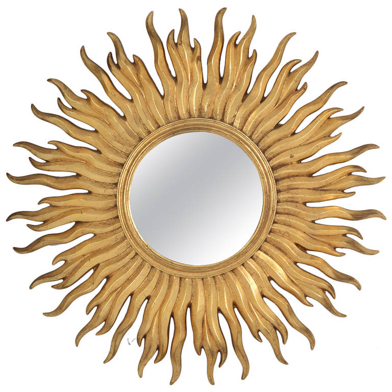 Vintage Gold Leaf Convex Sunburst Mirror For