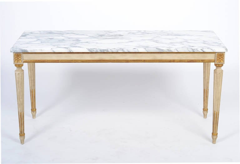 Louis XVI Carrara Marble Top Coffee Table 2