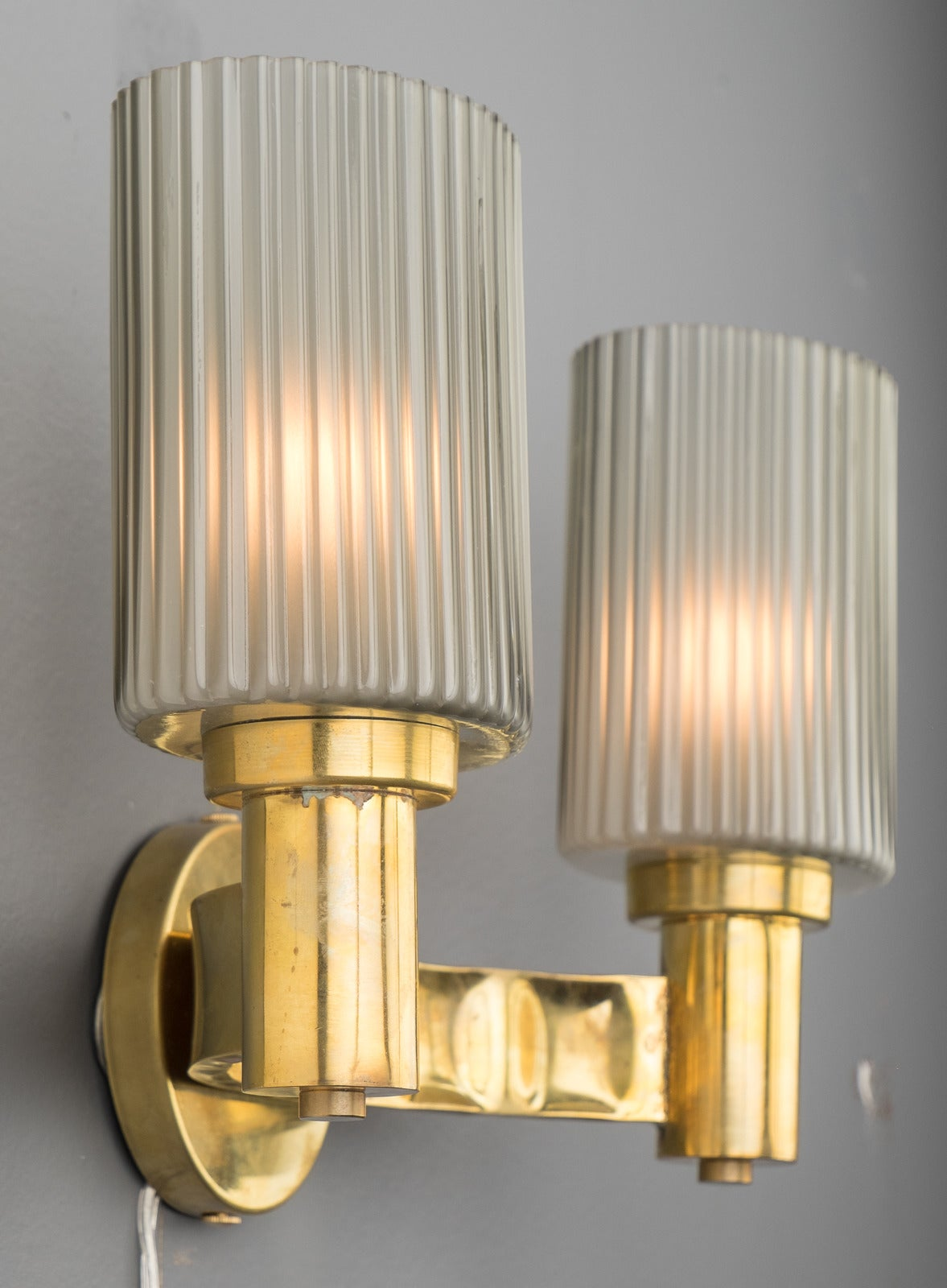 Wall Sconces With Glass : Murano Gray Glass and Brass Wall Sconces For Sale at 1stdibs