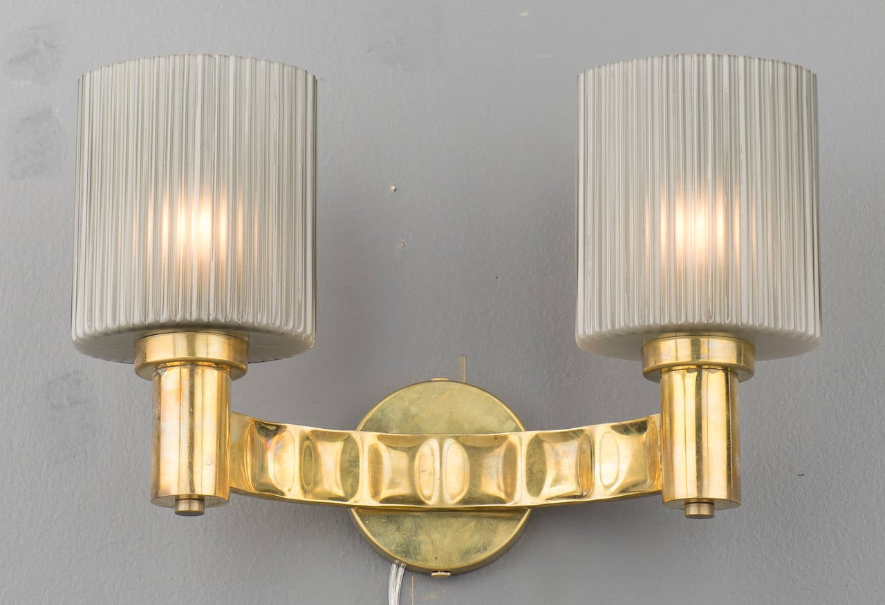 Murano Gray Glass and Brass Wall Sconces For Sale at 1stdibs