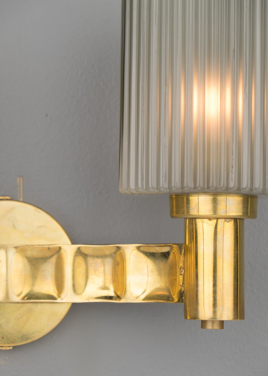 Grey Glass Wall Lights : Murano Gray Glass and Brass Wall Sconces For Sale at 1stdibs