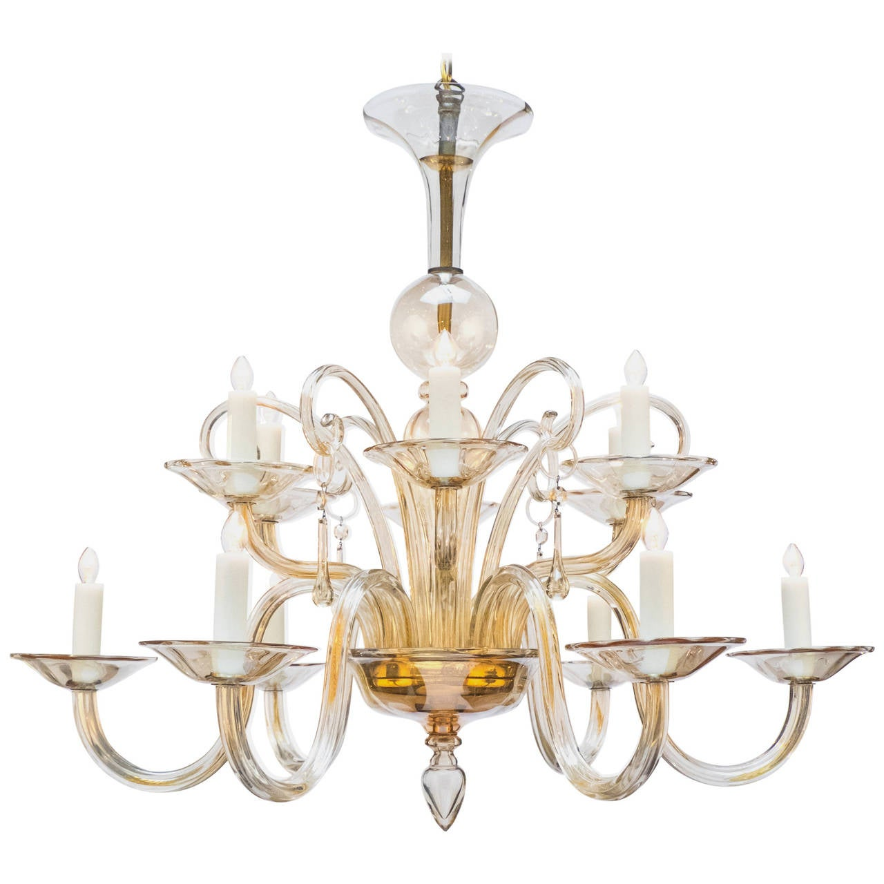 Murano Amber Glass Chandelier At 1stdibs