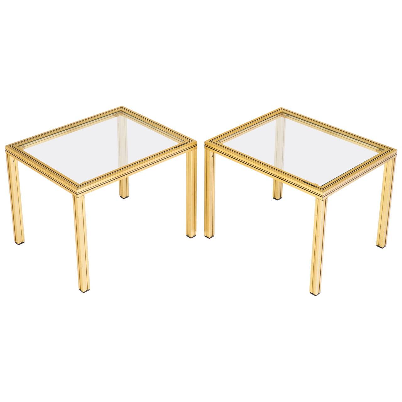 Vintage Pair of Brass Side Tables, Signed Pierre Vandel, Paris