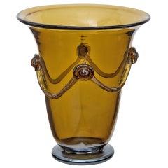 Smoked Amber Murano Glass Vase