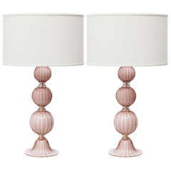 Pair of Murano Amethyst Glass Table Lamps