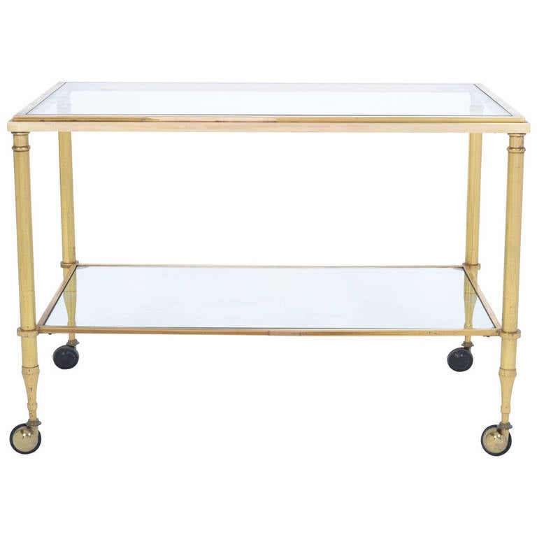 French Vintage Solid Gilt Brass Side Table on Casters