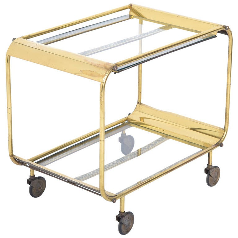 French Art Deco Brass And Glass Bar Cart At 1stdibs