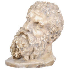 French Antique 19th Century Bust of Hercules