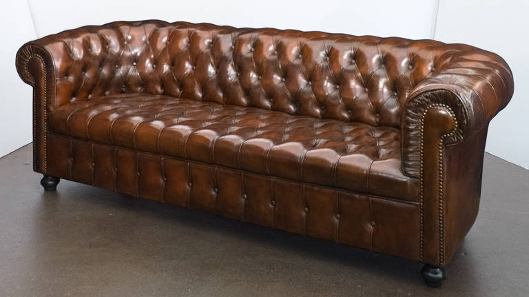 Mid Century Modern Vintage English Leather Chesterfield Sofa For Sale