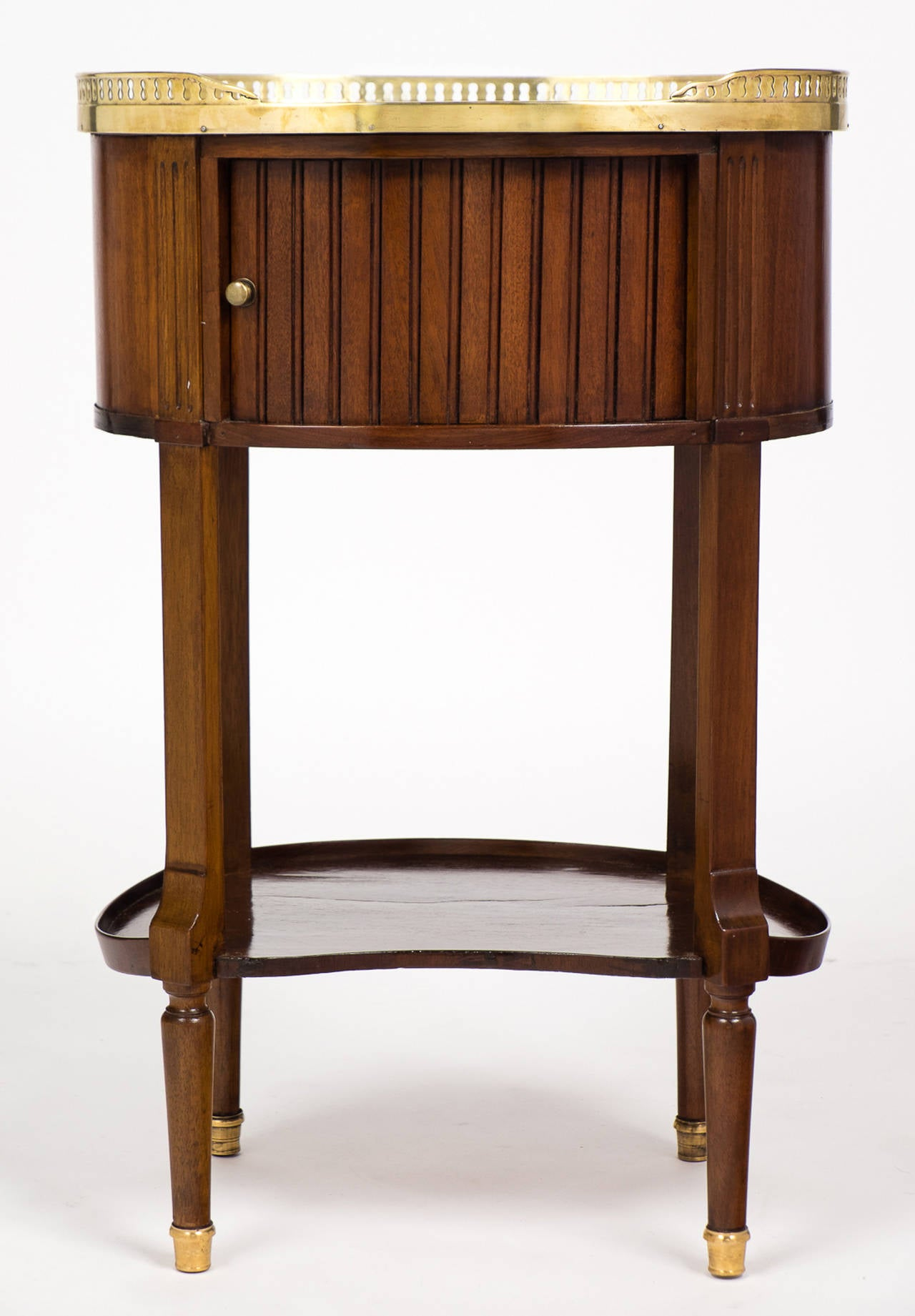 French Louis XVI Marble-Top Mahogany Side Table For Sale