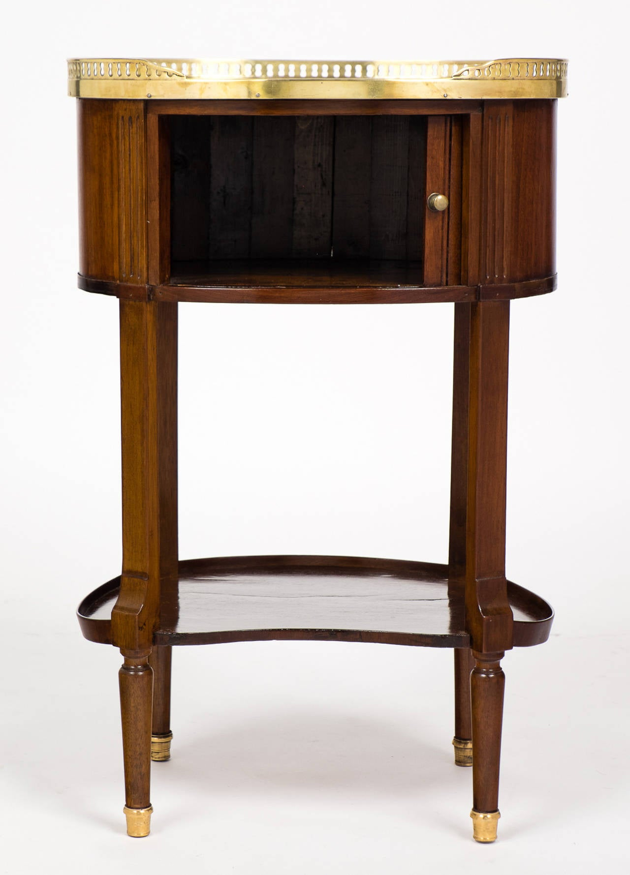Polished Louis XVI Marble-Top Mahogany Side Table For Sale