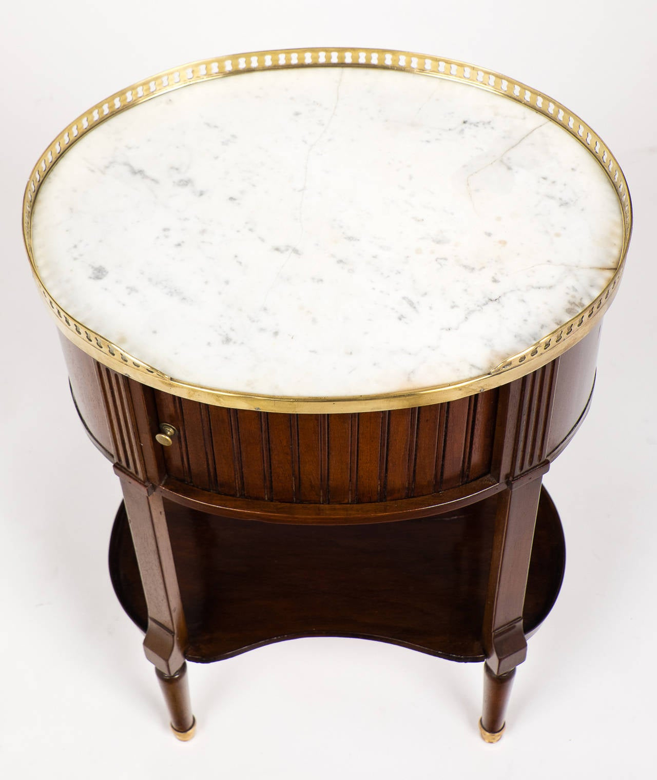 19th Century Louis XVI Marble-Top Mahogany Side Table For Sale