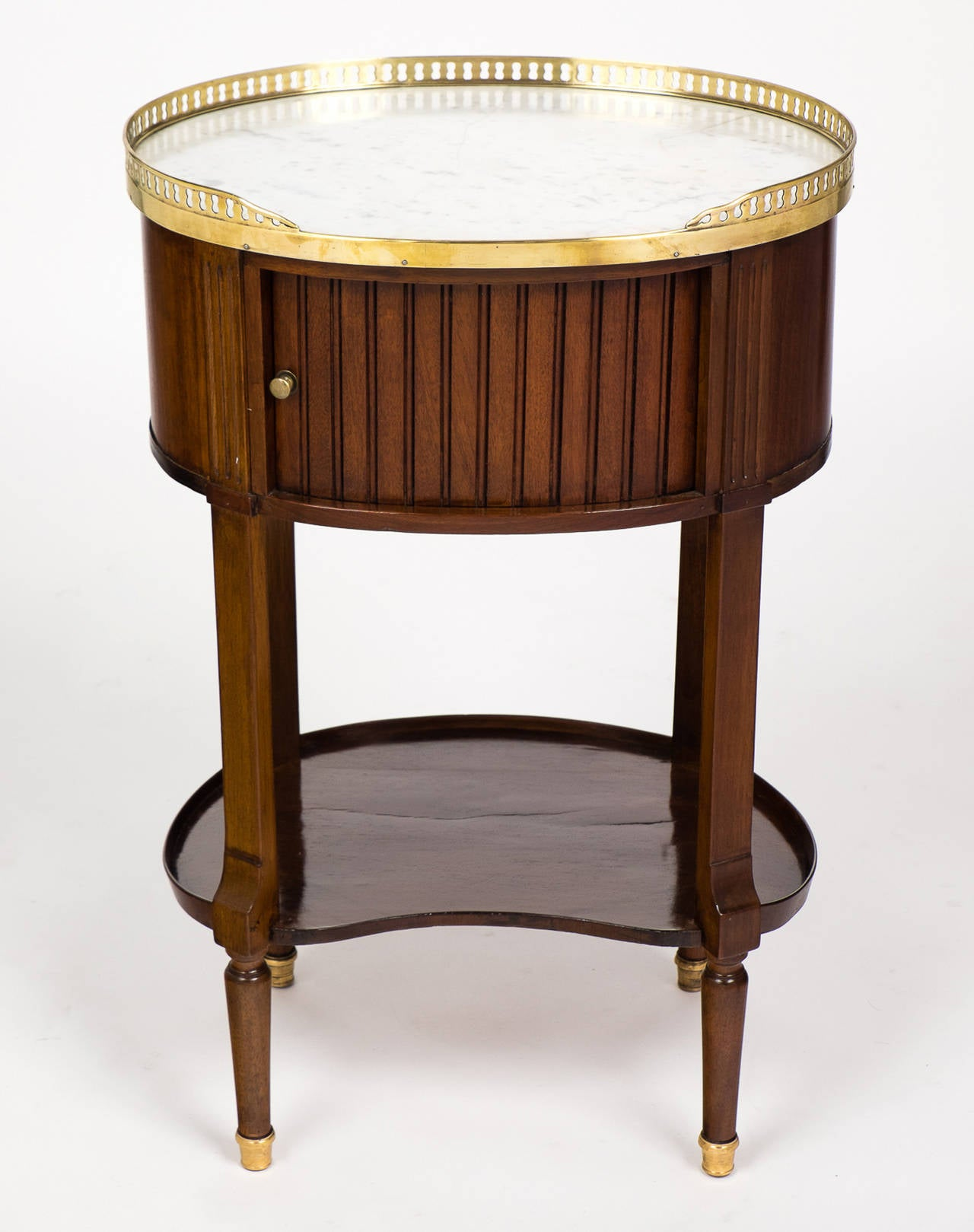 Louis XVI Marble-Top Mahogany Side Table In Good Condition For Sale In Austin, TX