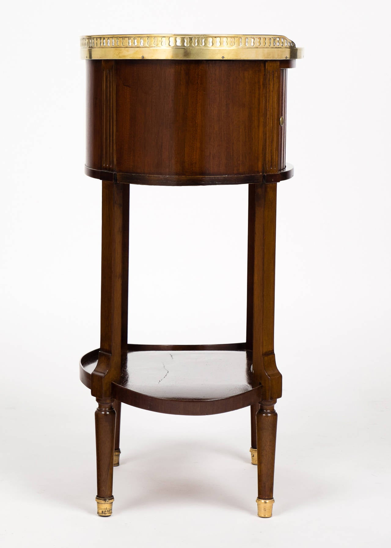 Louis XVI Marble-Top Mahogany Side Table For Sale 3