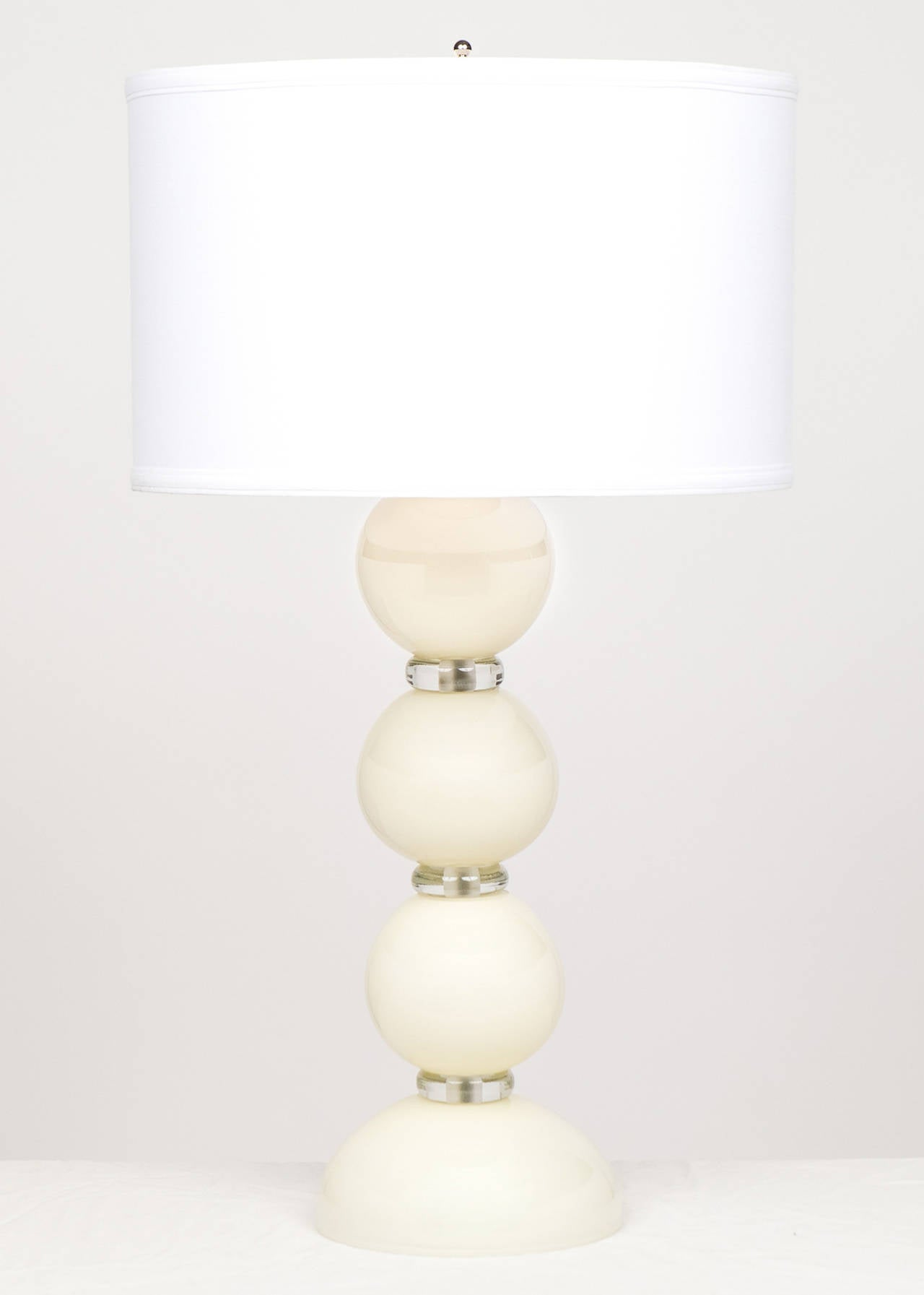 Modern Murano Ivory Glass Pair of Lamps For Sale