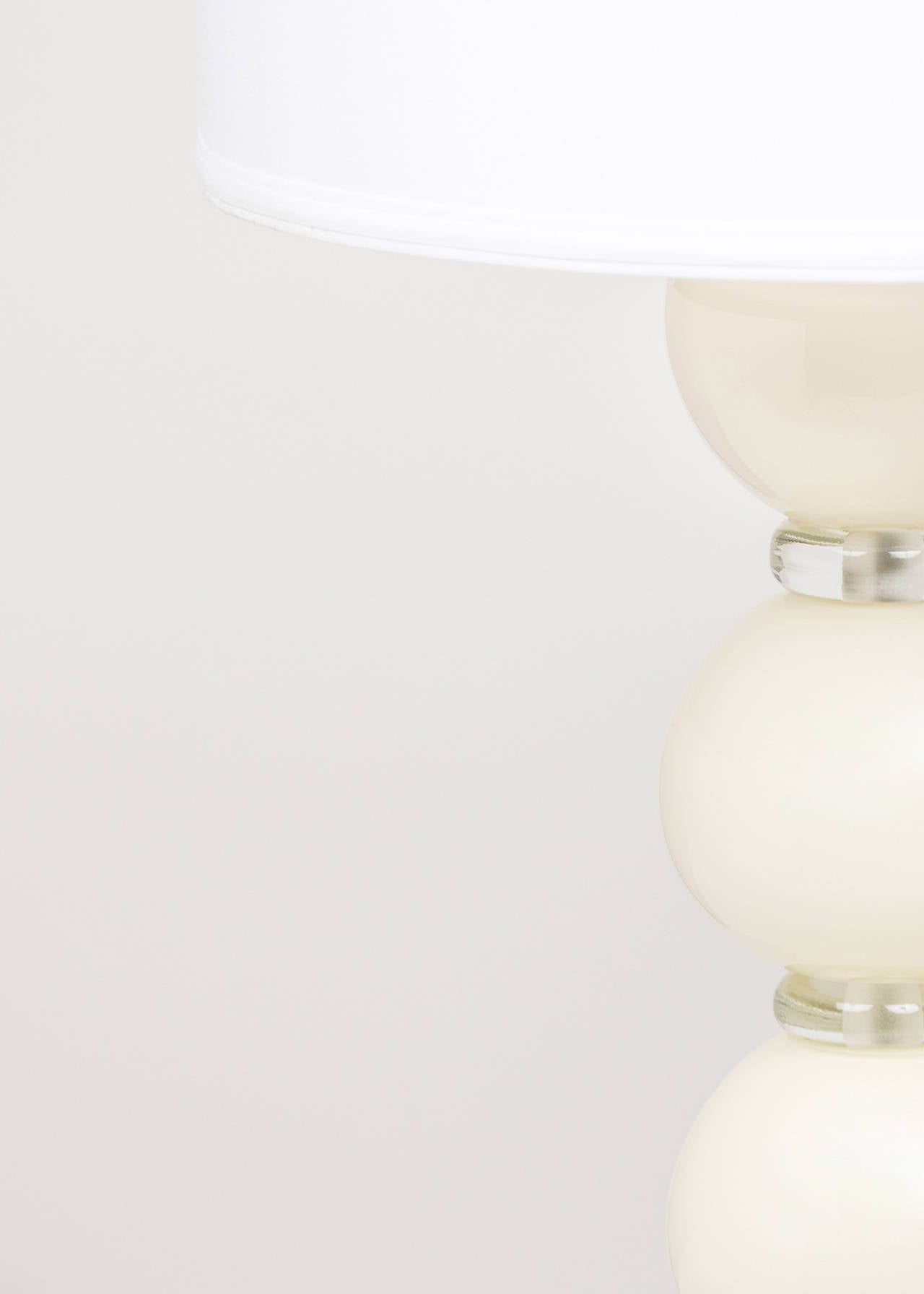 Italian Murano Ivory Glass Pair of Lamps For Sale
