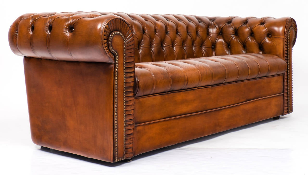 English Antique Leather Chesterfield Sofa at 1stdibs