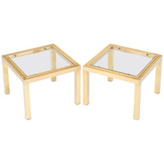 French Mid-Century Modern Pair of Brass Side Tables