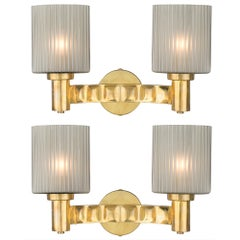 Murano Gray Glass and Brass Wall Sconces