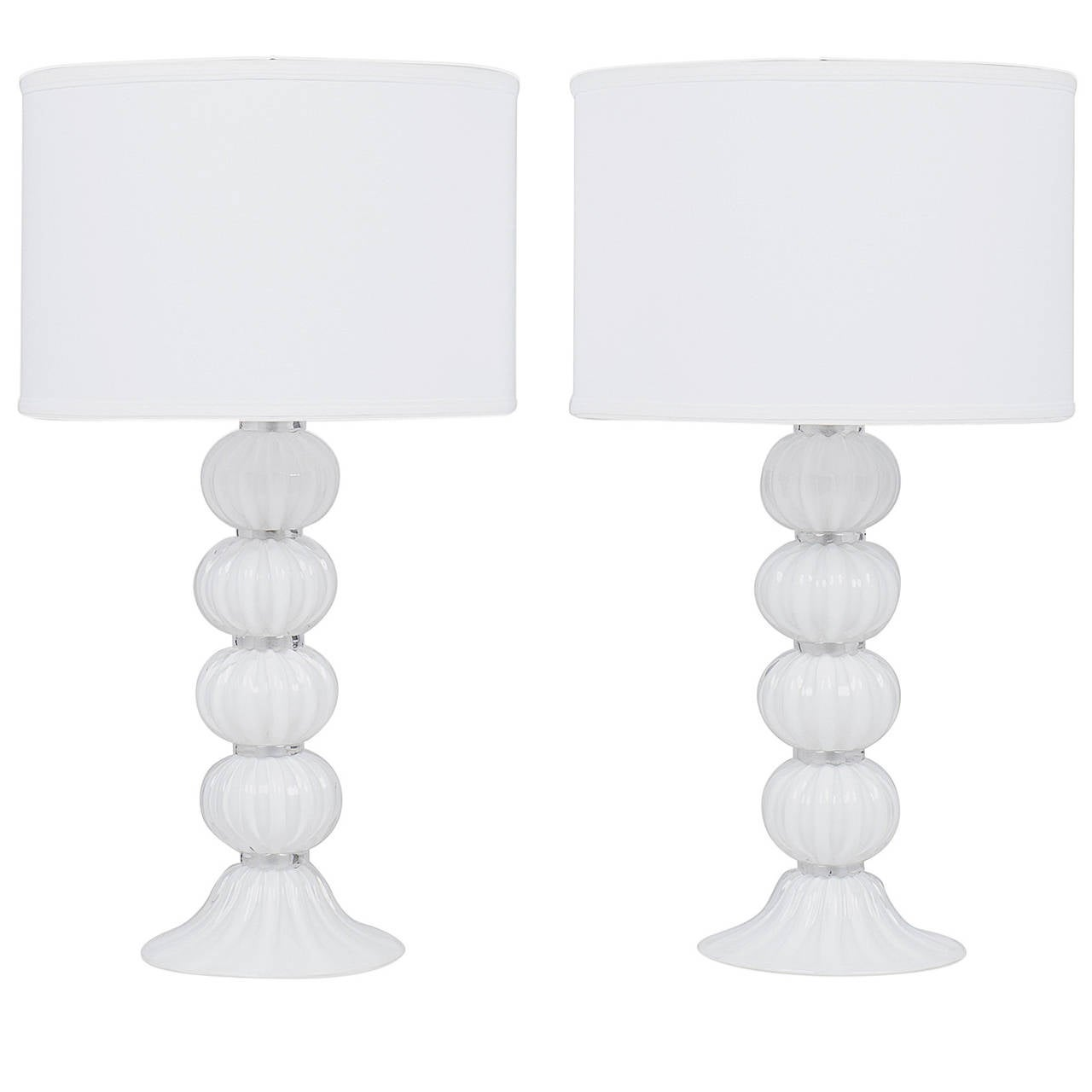 """Murano """"Incamiciato"""" White Glass Lamps"""