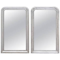 Pair of Louis Philippe Silver Leaf Mirrors