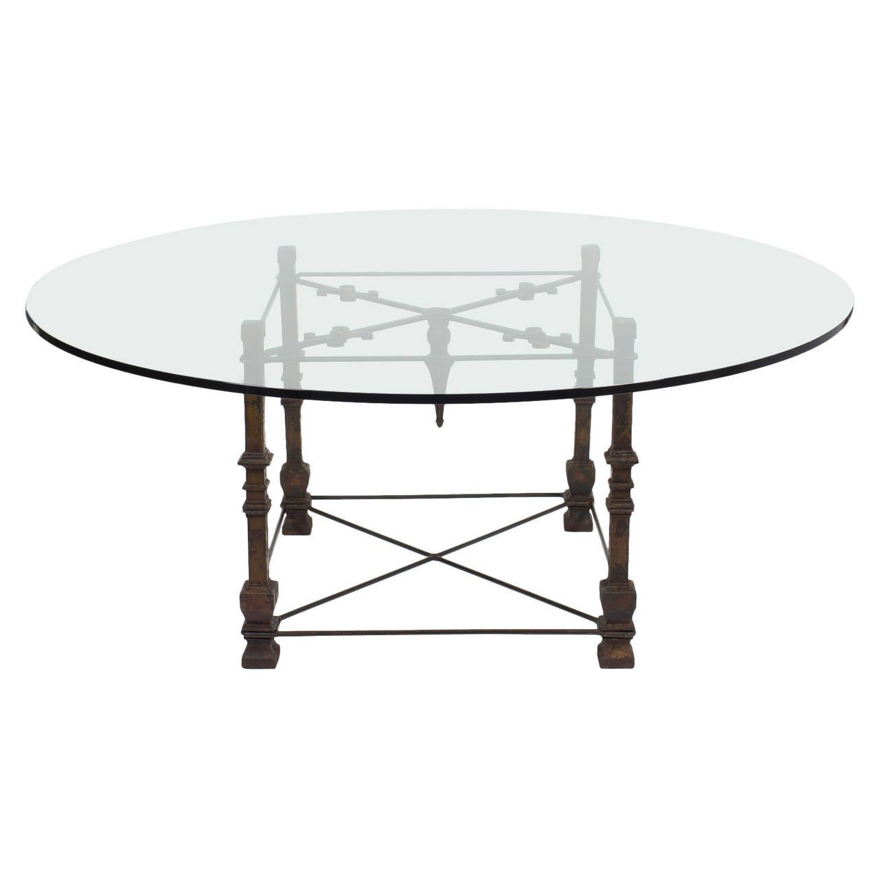 antique forged iron dining table with glass top at 1stdibs. Black Bedroom Furniture Sets. Home Design Ideas