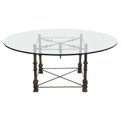 Antique Forged Iron Dining Table with Glass Top