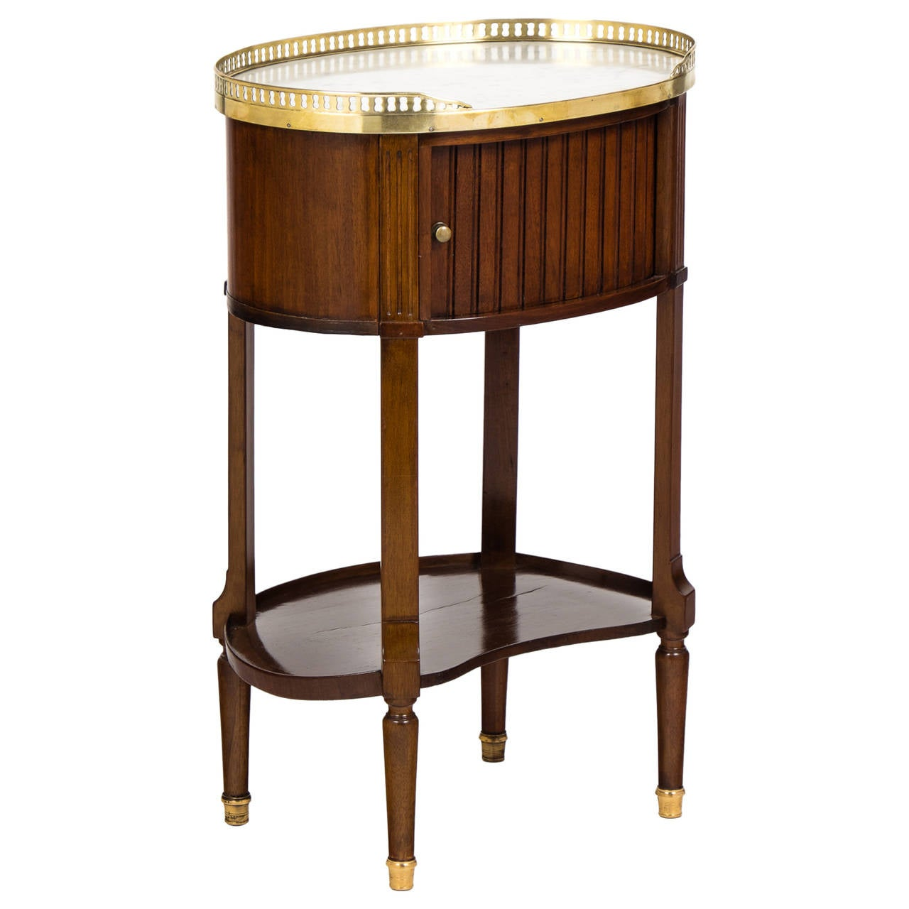 Louis XVI Marble-Top Mahogany Side Table For Sale