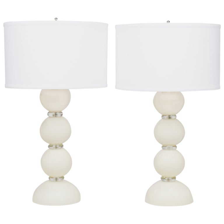 Murano Ivory Glass Pair of Lamps For Sale