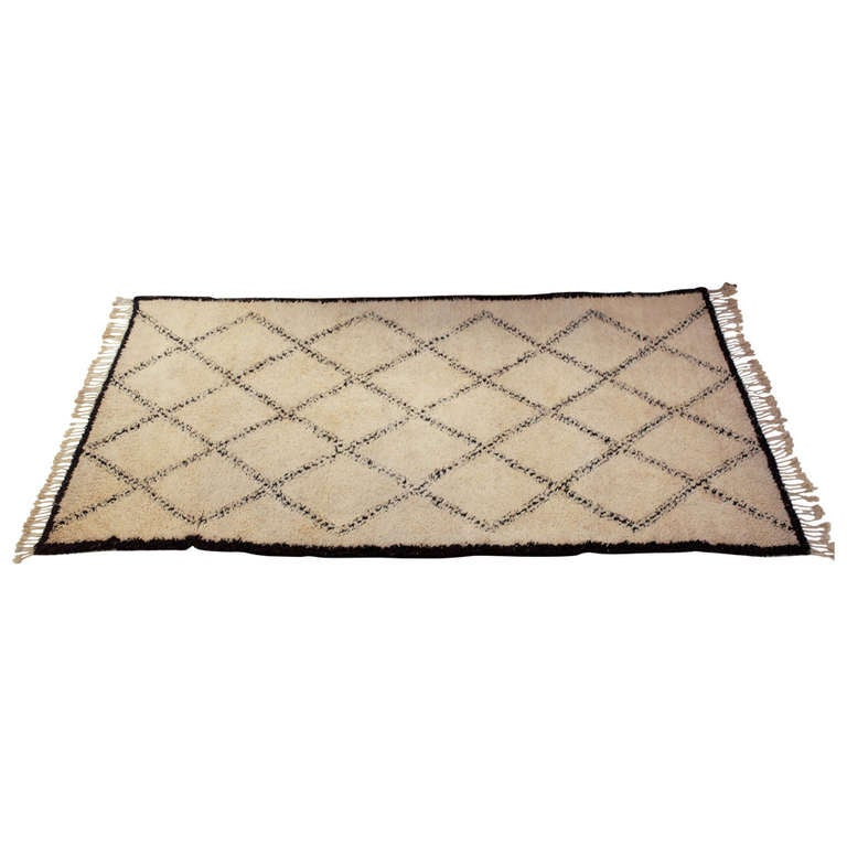 Handwoven Lamb's Wool Moroccan Rug For Sale