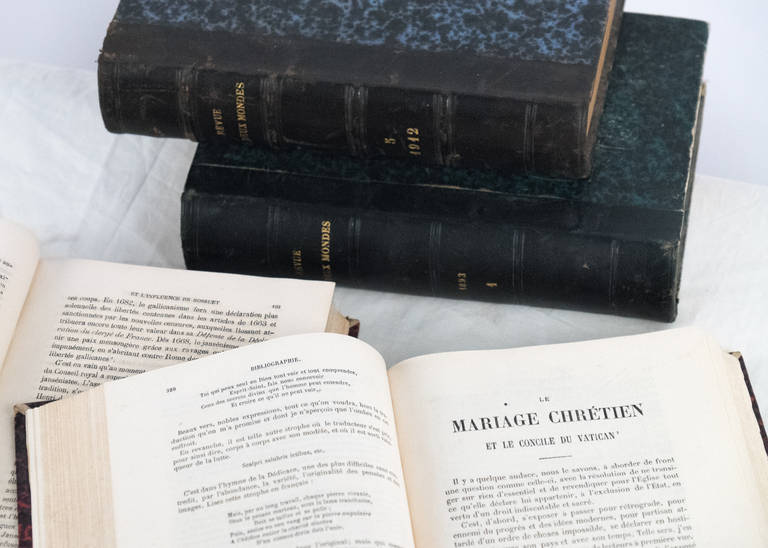French Antique Leather Bound  Books In Good Condition For Sale In Austin, TX