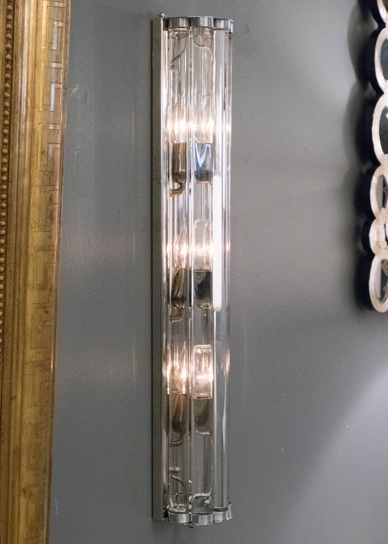 Italian Pair of Murano Glass and Chrome Sconces For Sale