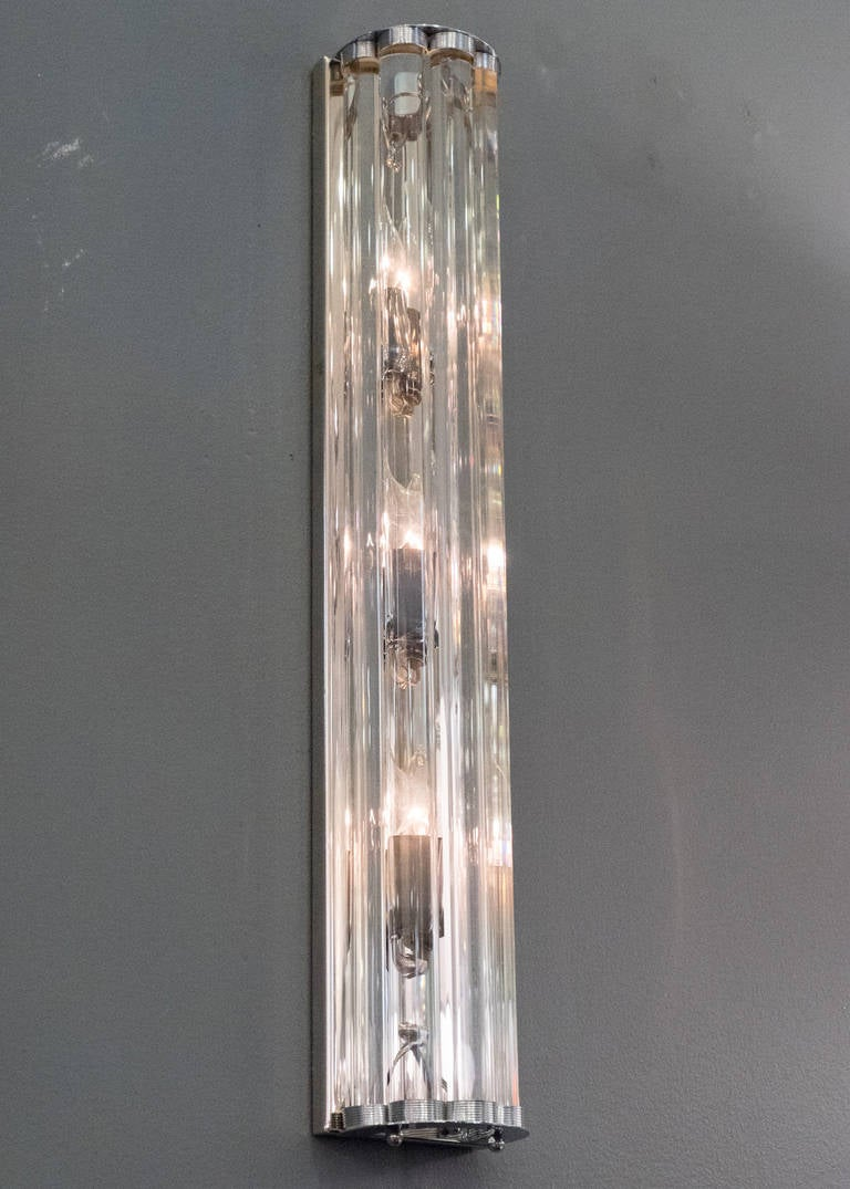 Pair of Murano Glass and Chrome Sconces In Excellent Condition For Sale In Austin, TX