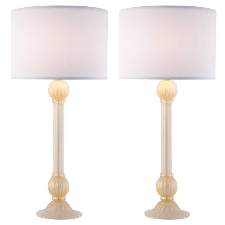 "Murano Pair of ""Incamiciato"" Glass Lamps"