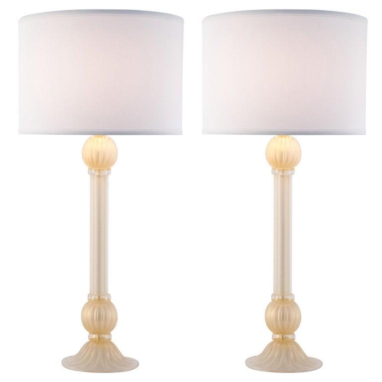 "Murano Pair of ""Incamiciato"" Glass Lamps For Sale"