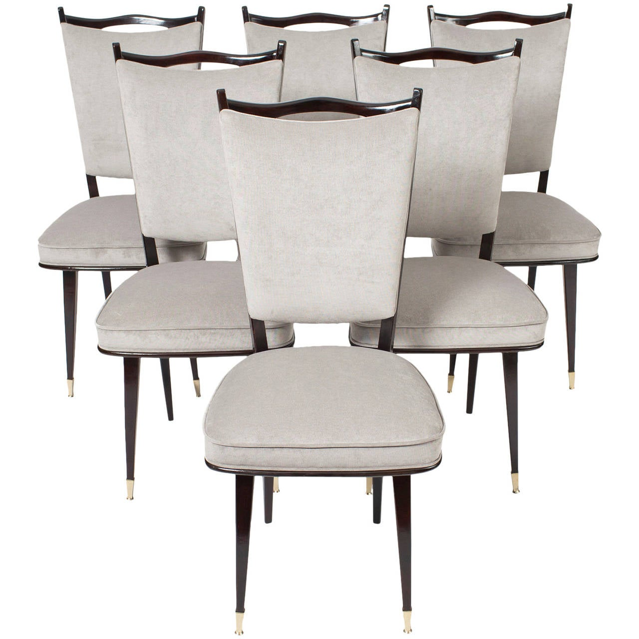 french set of six mid century modern dining chairs at 1stdibs. Black Bedroom Furniture Sets. Home Design Ideas