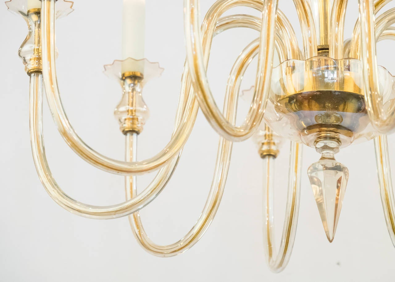 murano amber glass ten branch chandelier at 1stdibs. Black Bedroom Furniture Sets. Home Design Ideas