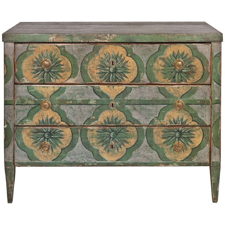 spanish hand painted fir chest of drawers at 1stdibs