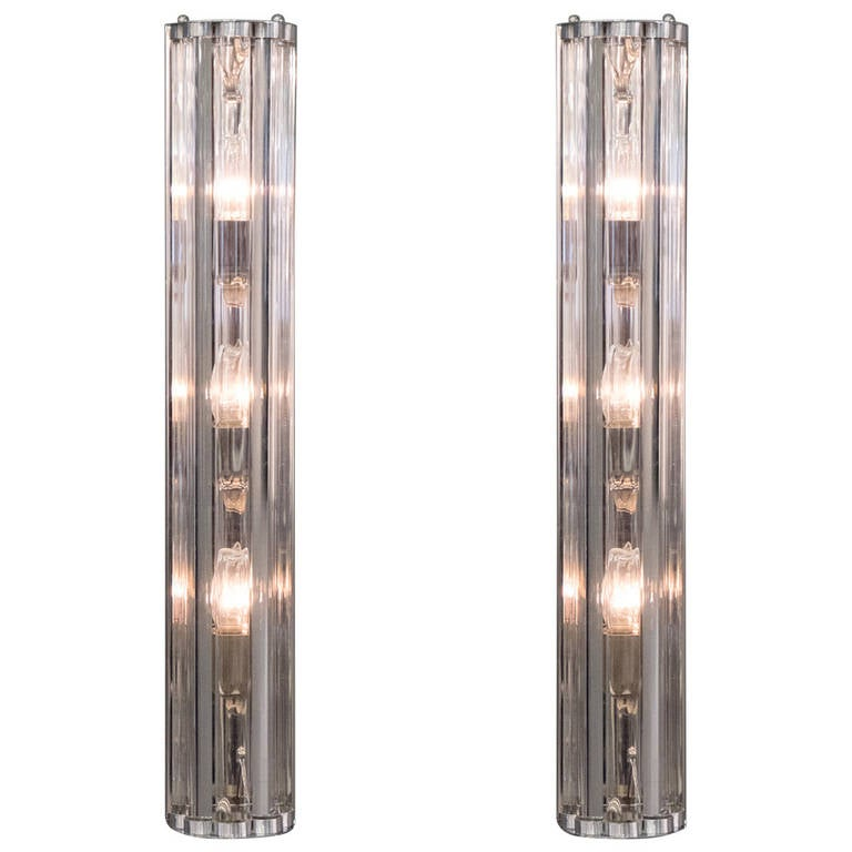 Pair of Murano Glass and Chrome Sconces For Sale