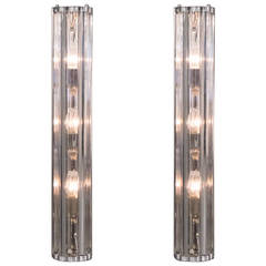 Pair of Murano Glass and Chrome Sconces