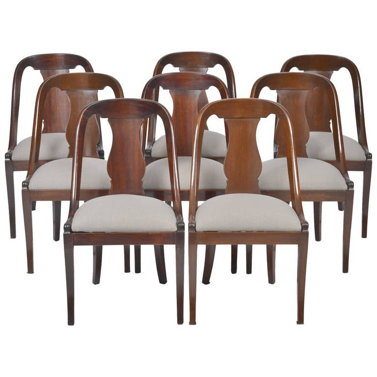 French Empire Set Of Eight Gondola Chairs For Sale