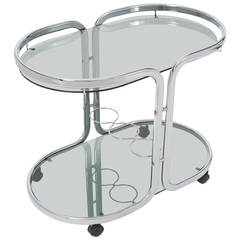 French Vintage Polished Chrome Bar Cart