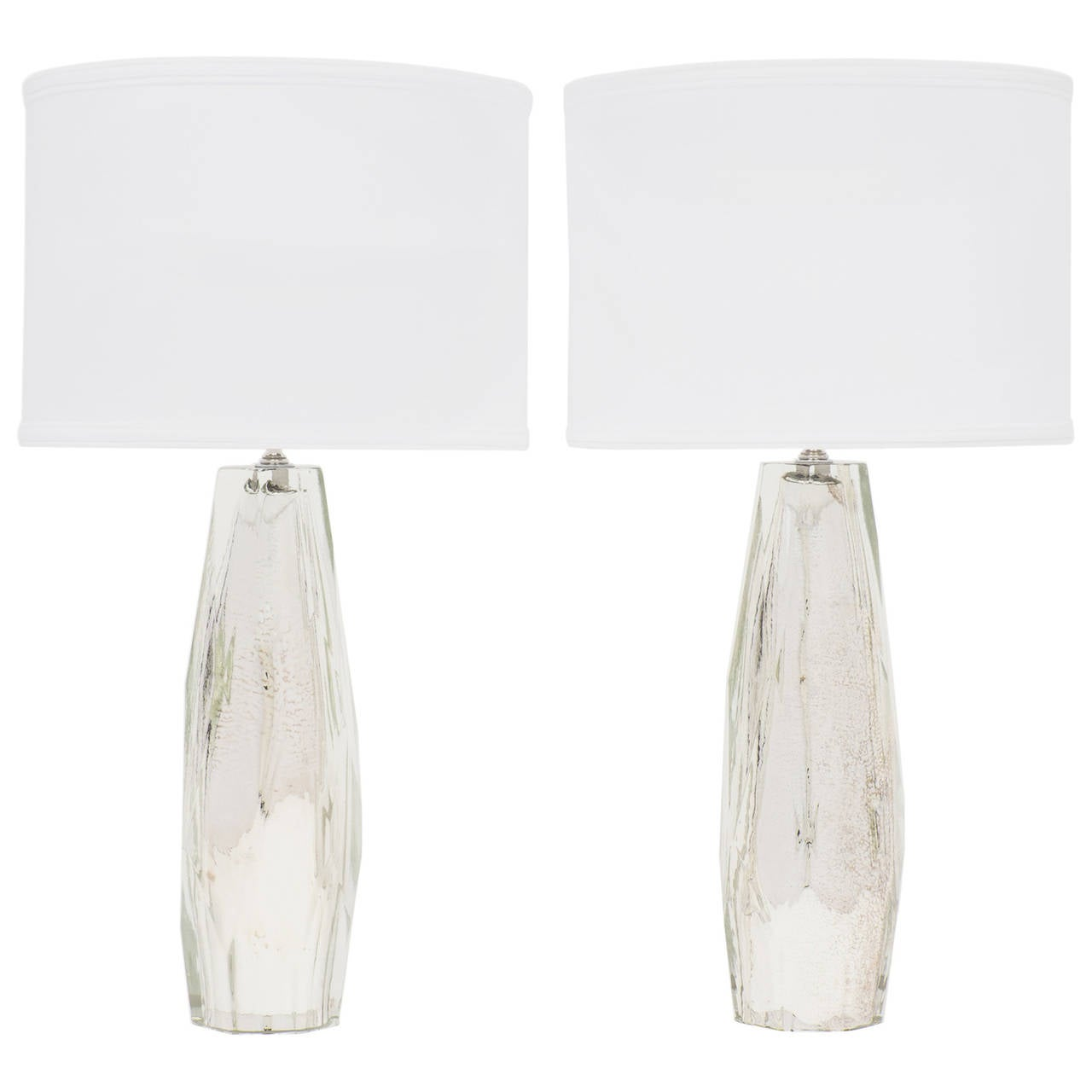 Pair of Murano Faceted Mercury Glass Lamps