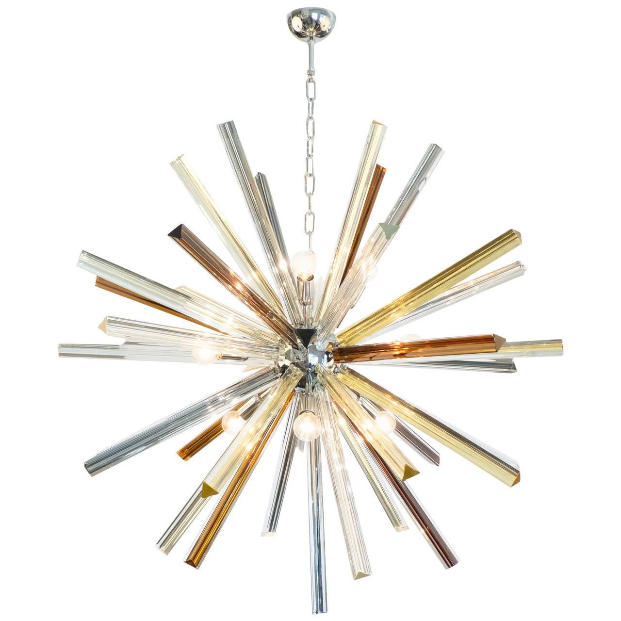 Murano Glass and Chrome Sputnik Chandelier
