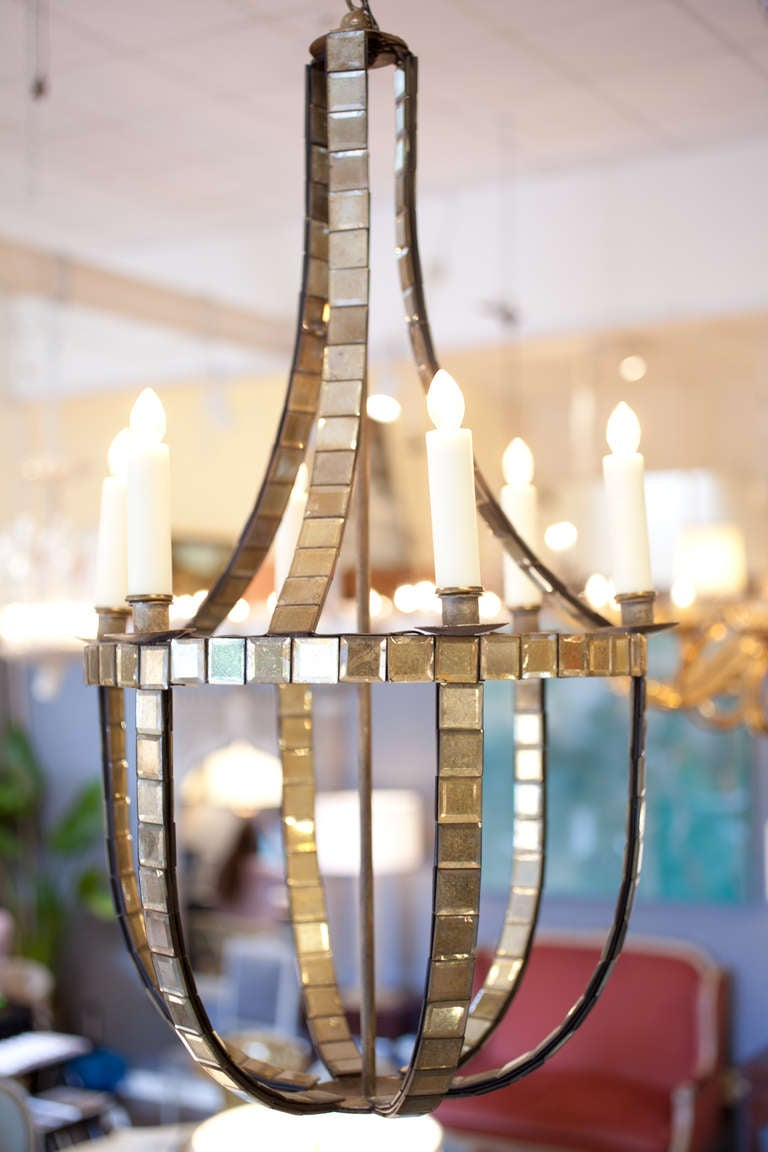 French vintage mirrored chandeliers at 1stdibs french vintage pair of mirrored chandeliers with six candelabra lights each rewired to us standards arubaitofo Image collections