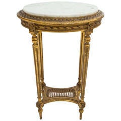 French Louis XVI Marble Top Side Table
